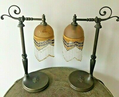 Pair of Victorian Antique Brass & Etched Glass Bedside Lamps