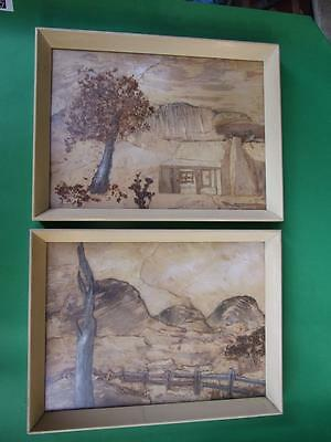 Framed Art Pair Australian Bark Pictures 1950's Decor Retro Vintage