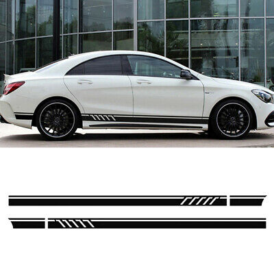 2PCS Black Long Stripe Graphics Car Off-Road Side Body Vinyl Decal Sticker DIY