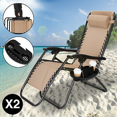 2 Zero Gravity Folding Lounge Beach Chairs Tray Outdoor Recliner Khaki