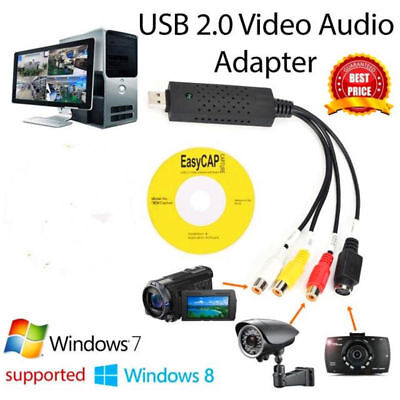 USB2.0 Stereo Audio Video VHS to TV Tuner DVD PC Converter Capture Card Adapter