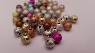 50 x 8mm Mixed Colour Acrylic Stardust Glitter Round Beads