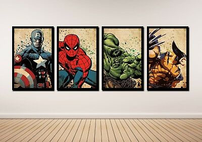 HD Printed Oil Painting Home Decor Art On Canvas The Avengers 4PCS Unframed