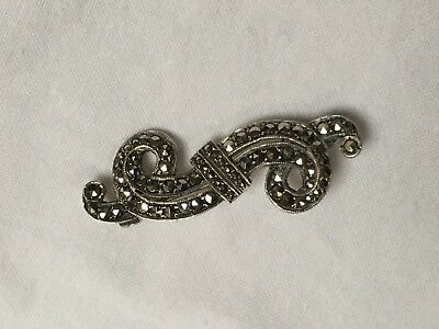 Antique Sterling Silver Art Deco C1920s marcasite brooch good condition 4.1cm.