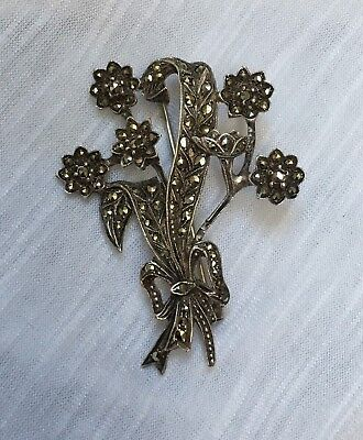 Large Antique Sterling Silver Art Deco C1920 marcasite flower brooch good cond.