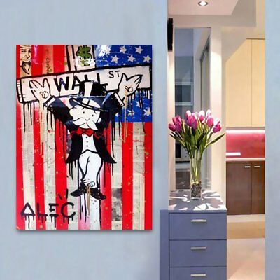 Hand-painted Alec Monopoly Oil Painting on Canvas American Wall Street 24x32inch