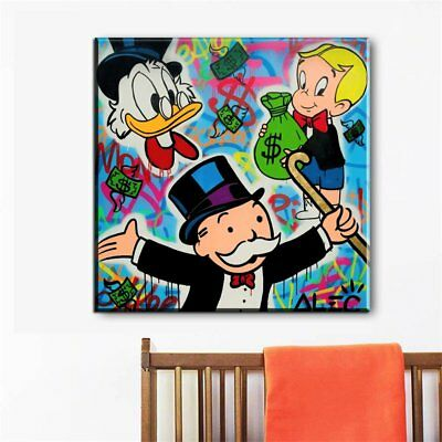 Hand-painted Alec Monopoly Oil Painting on Canvas Alec Disney 24x24 Unframed