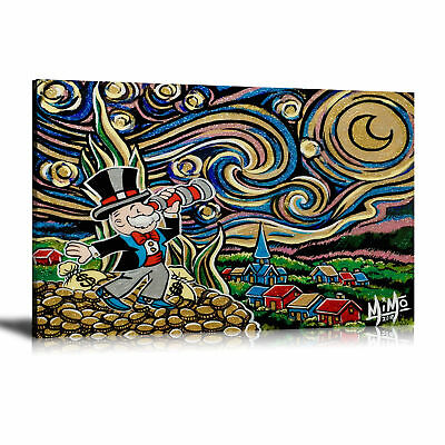 Hand-painted Alec Monopoly Oil Painting On Canvas Starry Night 24x36inch
