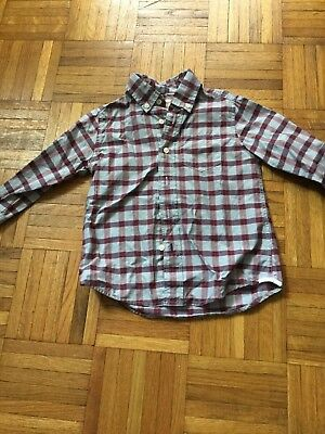 Crewcuts Toddler Boy Collared Button Down Plaid Size 3 Red Blue Plaid