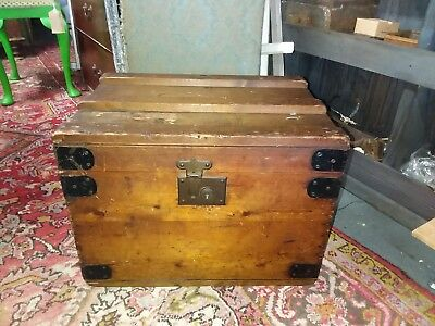 Wooden Iron Bound Luggage Trunk Post 2nd World War