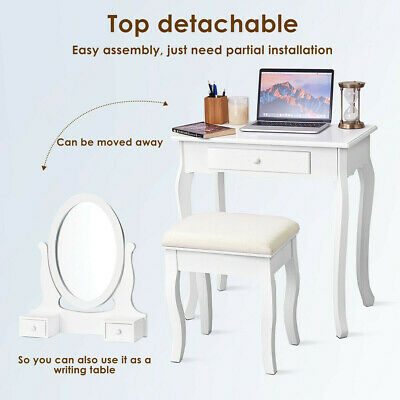 SMALL MIRRORED VANITY Table Makeup Desk Console with Drawers ...