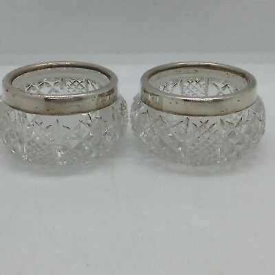 Antique Glass & Sterling Silver London 1914 Rim Salt/Mustard Jars