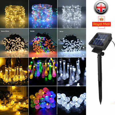 30/50/100/200 LED Solar Fairy Garden Lights String Outdoor Party Wedding Xmas UK