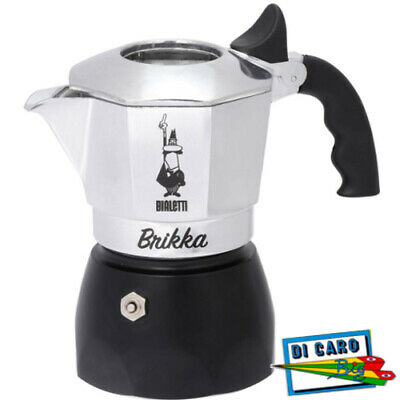 Bialetti 0006782: Moka 2 Tazze, Caffettiera Brikka 2018 New, Coffee Maker, Nero