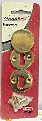 Woodbury Victorian  Brass Keyhole Escutcheon Lock Cover Plate Open or Swing