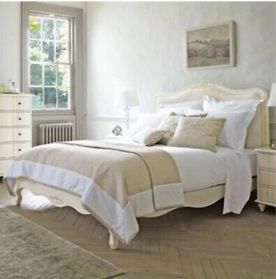 Feather And Black Amelia Double Size White Bed Frame