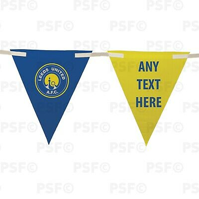 Official LUFC Bunting 10 Piece Triangle Peacock Crest Add Text Leeds United FC