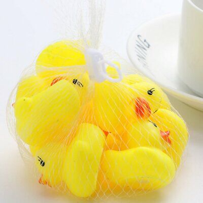 10pcs Baby Bathing Bath Tub Toys Mini Rubber Squeaky Float Duck Yellow SY