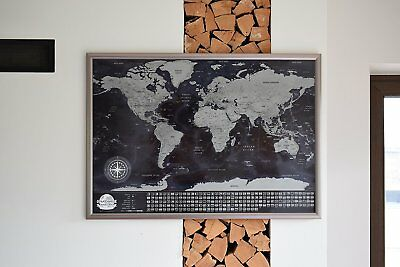 Black Scratch Travel World Map Gift For Travelers–with small defects