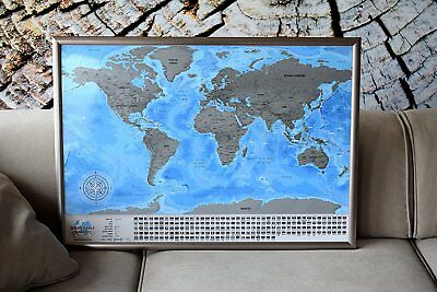 Detailed Scratch Travel World Map Gift For Any Traveler – with small defects