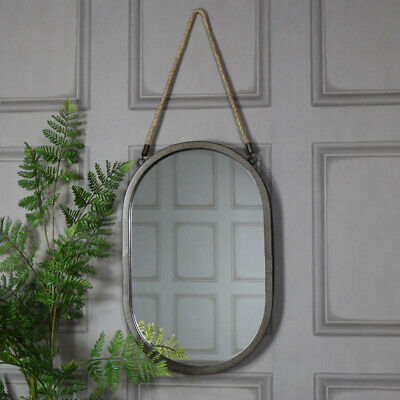 Large Rustic Rope Black Oval Wall Mirror Home Accessory Gift Decor Industrial