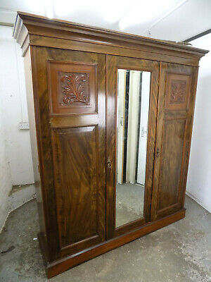 antique,mahogany,tripple,compactum,wardrobe,mirror,shelves,drawers,breakdown