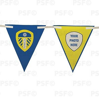 Official LUFC Bunting 10 Piece Triangle Current Crest Add Photo Leeds United FC