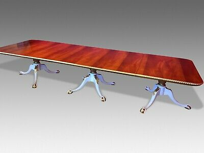 RARE OPULENT 12.5ft GRAND REGENCY STYLE FLAME MAHOGANY TABLE FRENCH POLISHED