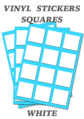 100 White Squares Stickers - Self Adhesive Vinyl Labels size 13mm each