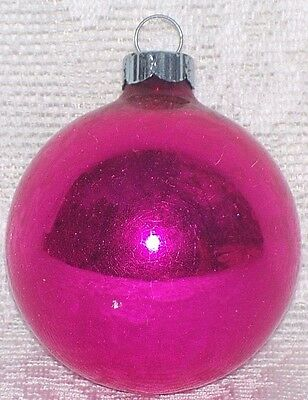Vintage Glossy Pink Mercury Glass Shiny Brite Christmas Ornament 2 1/4""