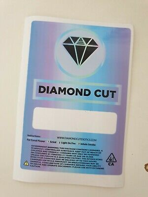 100x Diamond Cut Exotics Mylar Bag Cali tin label CaliLabels