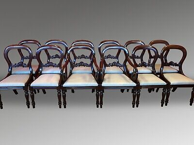 Magnificent set 12 beautiful Victorian style Balloon back chairs French polished