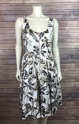 141d20d2f30 J.Crew Dress Size 8 Women s Linen Zip Front Gold Foil Leaf Printed Pockets  White