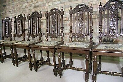 Set Of Six Jacobean Victorian Edwardian Hand Carved Oak & Tapestry Dining Chairs