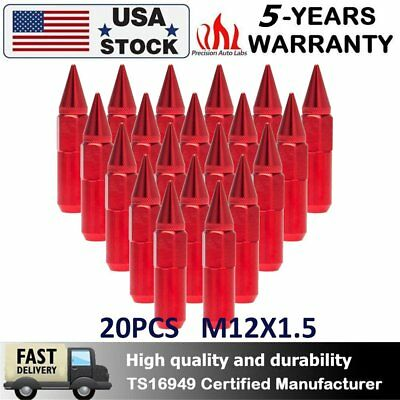 20PCS 60mm Red M12X1.5 Cap Spiked Extended Tuner Aluminum Wheels Rims Lug Nuts