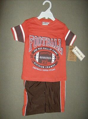 Little Rebels Boys football champs T shirt with sport pants NWT size 12 months