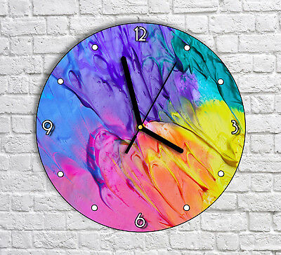 Abstract Colorful Artwork - Round Wall Clock For Home Office Decor