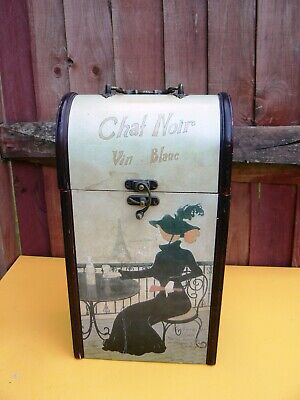 Vintage Portable Wooden Wine Box / Carrier
