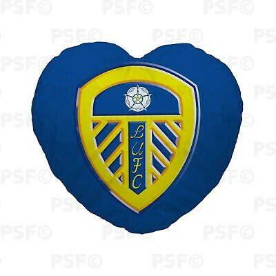 Official LUFC Heart Shaped Cushion Personalised Blue 3D Crest Leeds United FC