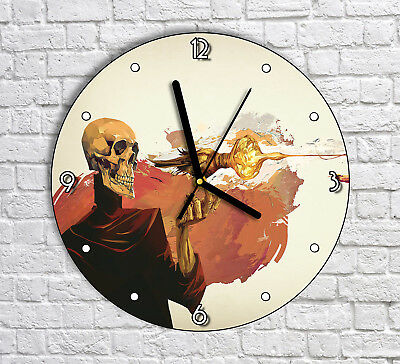 Weird Skull Skeleton Artwork - Round Wall Clock For Home Office Decor