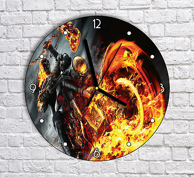 Skeleton Dark Fire Bike Biker - Round Wall Clock For Home Office Decor