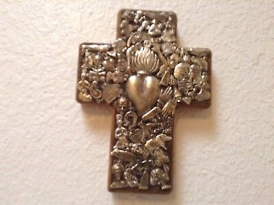 """Weathered Wood, Patina On Brass Milagros 71/2"""" X 5 1/2"""" X 2 1/2"""" hand made cross"""