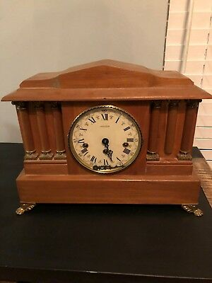 Beautiful Handcrafted Wooden Mantle Clock For Parts Or Repair