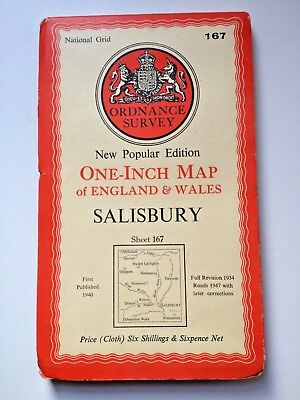 Ordnance Survey New Popular Edition One-Inch Map Salisbury 1947 Sheet 167 Cloth