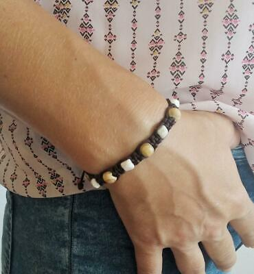 Bracelet Olive Wood and Stone Beads 10 Decade Rosary on Cord+Gift holy card