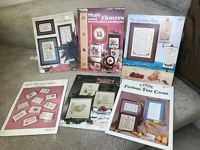 6 Vintage Cross Stitch Needlepoint Pattern Books Crafting Various Subjects