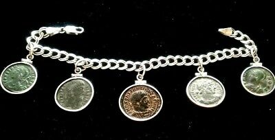 Ancient Roman Constantine Authentic 5 Coins Charm Italy Bracelet Sterling Silver