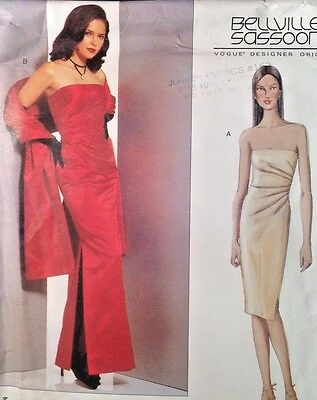 UC Vogue 2481 Sew Pattern Bellville Sassoon Formal Evening Dress Gown Stole Prom