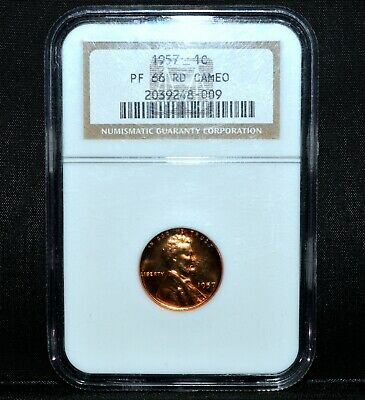 1957-P Lincoln Proof Wheat Cent ✪ Ngc Pf-66-Rd Cameo ✪ 1C Cam Pr Gem ◢Trusted◣