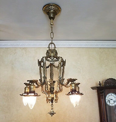 364b Vintage Antique 20s 30s Ceiling Light  Brass Chandelier High Quality